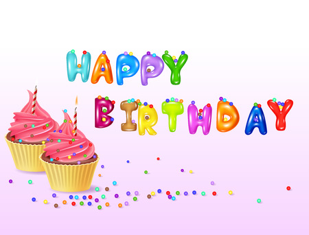 cartoon birthday cake: Vector illustration of Birthday background with cup cake Illustration