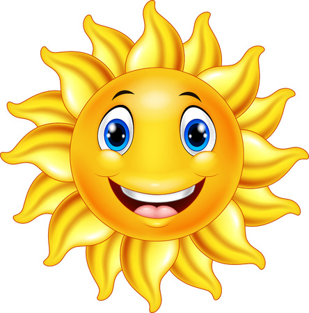 Vector illustration of Cute smiling sun cartoon