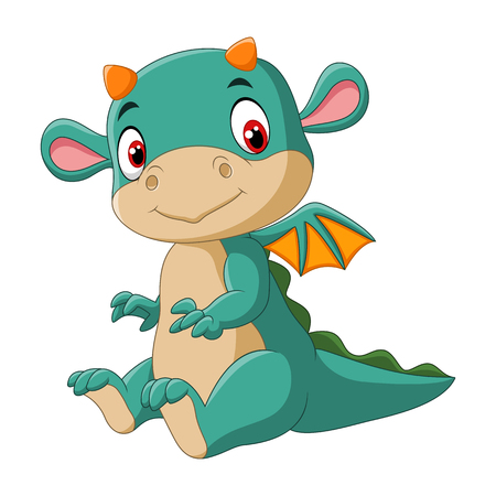 Vector illustration of Cute baby dragon Vettoriali
