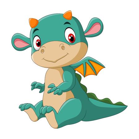 Vector illustration of Cute baby dragon Vectores
