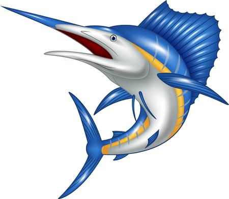 Vector illustratie van de marlijn vissen cartoon
