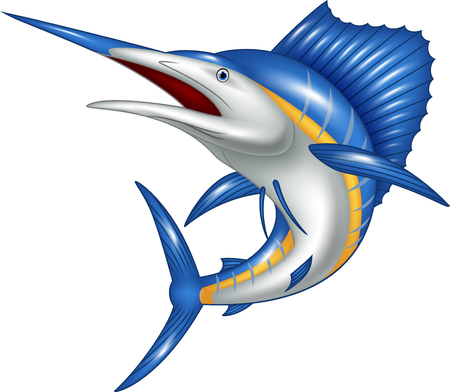 Vector illustration of marlin fish cartoon
