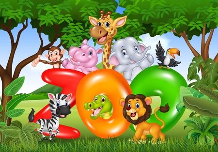 Vector illustration of Word zoo with cartoon wild animal africa Illustration