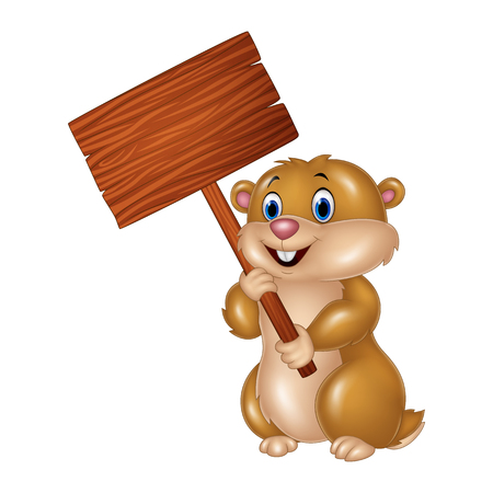 fur: Vector illustration of Cute Groundhog holding blank sign
