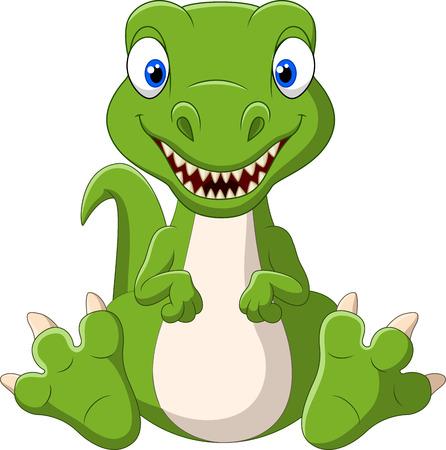 Vector illustration of Cute baby dinosaur cartoon Illustration