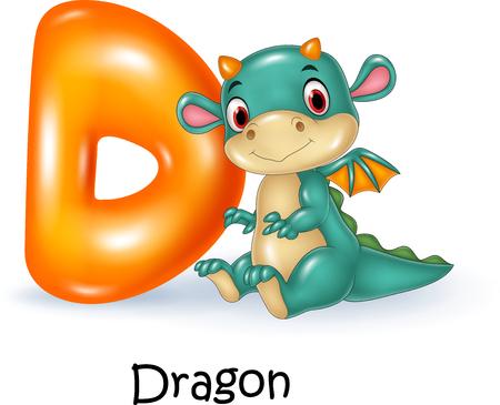 spelling book: Vector illustration of D letter for Dragon Illustration