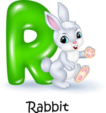 spelling book: Vector illustration of R letter for Rabbit