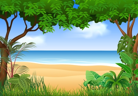 summer cartoon: Vector illustration of Beautiful tropical beach on the forest