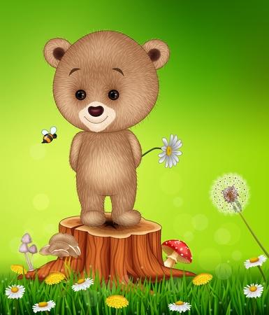 tree stump: Vector illustration of Little bear on tree stump in summer season background