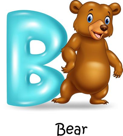 spelling book: Vector illustration of B letter for Bear