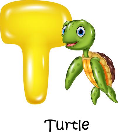 spelling book: Vector illustration of T letter for Turtle Illustration