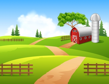 Vector illustration of farm background Çizim