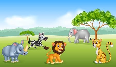 savanna: Vector illustration of Cartoon happy animal africa Illustration