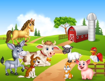 Vector illustration of Farm background with happy animals