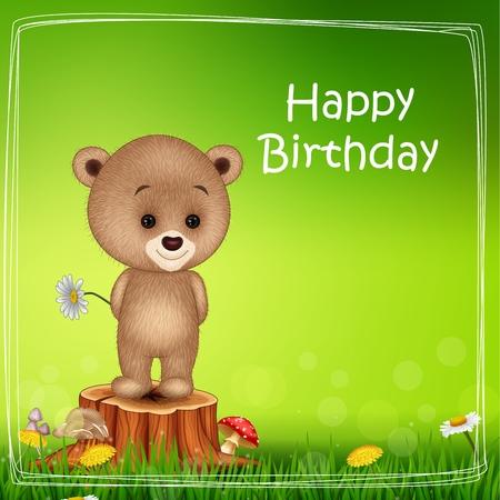 tree stump: Vector illustration of Happy birthday background with little bear on tree stump