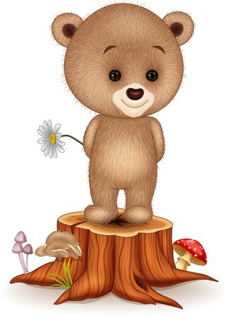 tree stump: Vector illustration of Cute little bear on tree stump