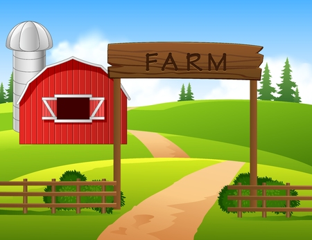 bale: Vector illustration of farm background Illustration