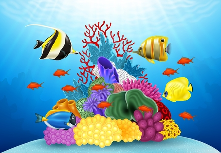 hard coral: Vector illustration of Cartoon tropical fish with beautiful underwater world