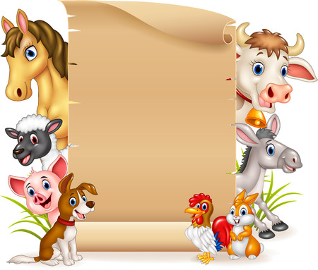 group of pets: Vector illustration of Cartoon funny farm animals with wooden sign Illustration