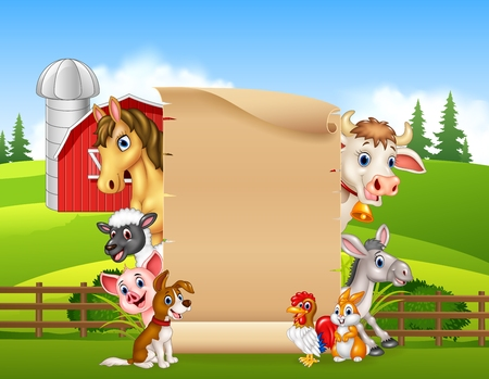 Vector illustration of Cartoon happy farm animals holding wooden sign