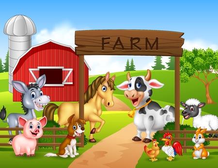 Ilustración del vector del fondo de la granja con los animales Foto de archivo - 56170791