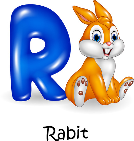 spelling book: Vector illustration of R letter for Rabbit Cartoon
