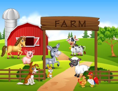 bales: Vector illustration of Farm background with animals
