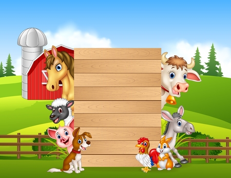 Vector illustration of Cartoon happy farm animals holding wooden sign