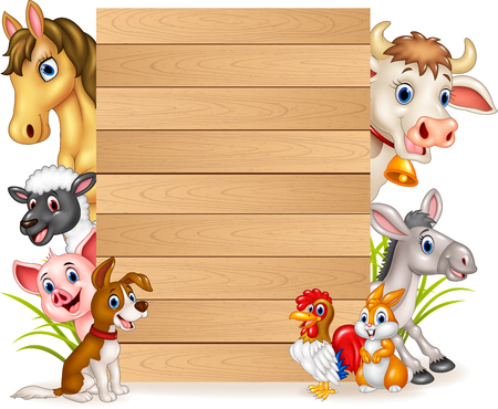 Vector illustration of Cartoon funny farm animals with wooden sign Vectores