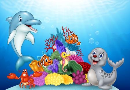Vector illustration of Cartoon tropical fish with Beautiful Underwater World Illustration