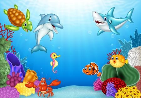 Vector illustration de bande dessinée poissons tropicaux avec belle monde sous-marin