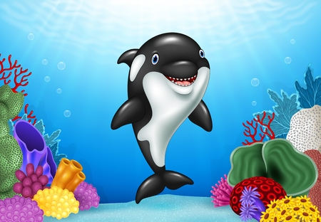 Vector illustration of Cute orca with beautiful underwater world