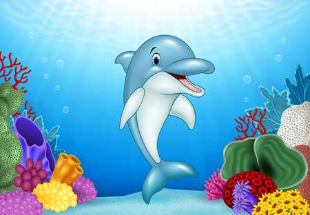 Vector illustration of Cute Dolphin with beautiful underwater world