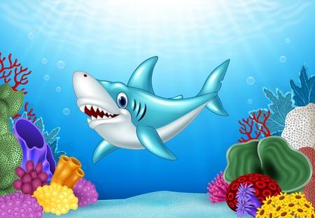 sunray: Vector illustration of Stylized cartoon angry shark with beautiful underwater world