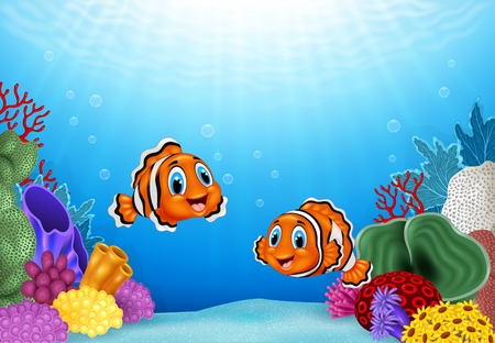 Ilustración del vector de la historieta de los pescados del payaso con un hermoso mundo submarino Ilustración de vector