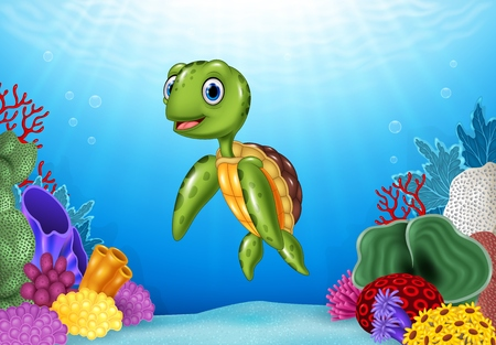 sunray: Vector illustration of Cute Turtle with beautiful underwater world