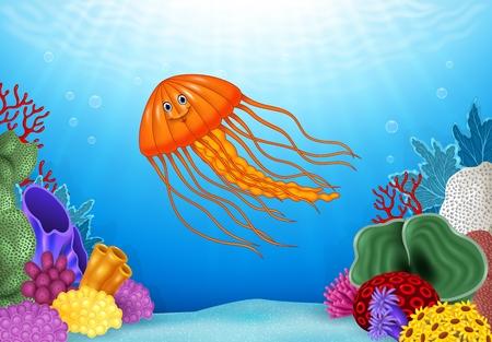 Ilustración del vector de las medusas de dibujos animados con un hermoso mundo submarino