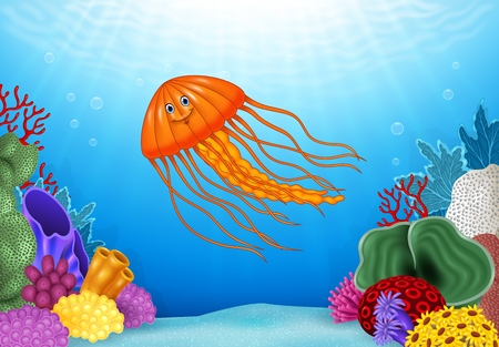 reef: Vector illustration of Cartoon jellyfish with beautiful underwater world