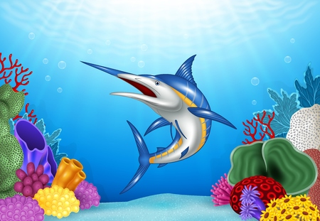 coral reef underwater: Vector illustration of Cartoon Xiphias with Coral Reef Underwater in Ocean Illustration