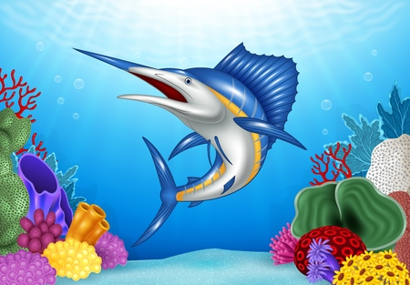 coral reef underwater: Vector illustration of Cartoon Blue Marlin with Coral Reef Underwater in Ocean