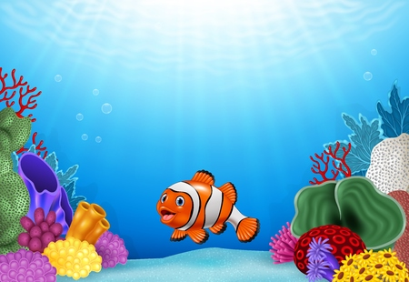 reef: Vector illustration of Cute clown fish with Coral Reef Underwater in Ocean