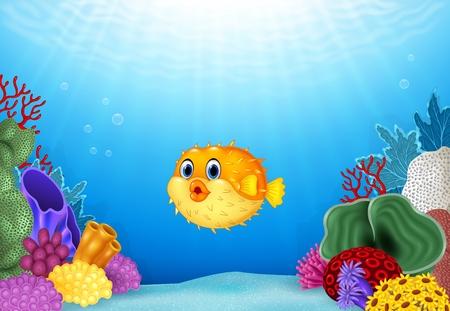 海でサンゴ礁の水中で漫画フグのベクトル イラスト