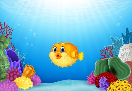Vector illustration of Cartoon puffer fish with Coral Reef Underwater in Ocean Ilustração