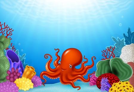Illustrazione vettoriale di cartone animato di polpo con Coral Reef subacqueo in Ocean