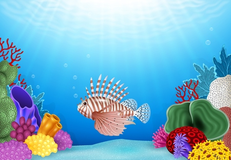cartoon scorpion: Vector illustration of Cartoon Scorpion fish with beautiful underwater world