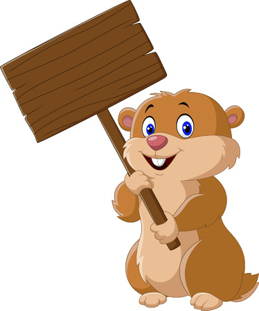 blank sign: Vector illustration of Cute Groundhog holding blank sign