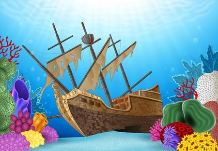 Ilustración del vector del naufragio en el océano