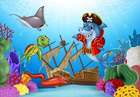 shipwreck: Vector illustration of Cartoon sea animals with Shipwreck on the ocean Illustration