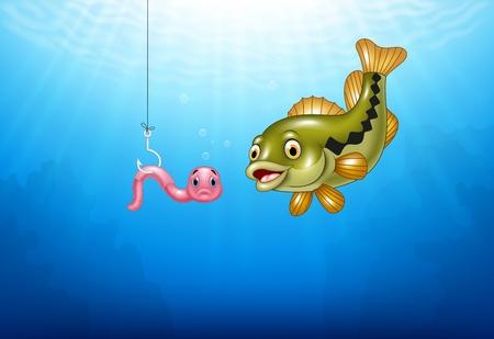 Vector illustration of Cartoon bass fish hunting a pink worm