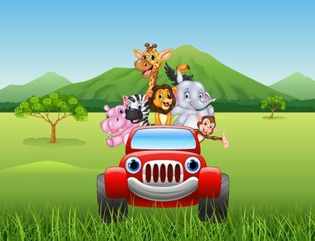 빨간 자동차에있는 만화 동물 아프리카의 벡터 일러스트 레이션